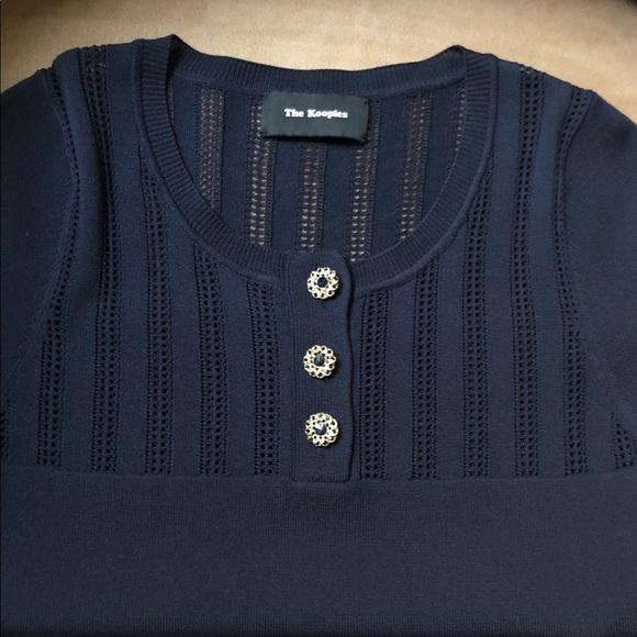 Kooples brand navy blue short sleeve knit top